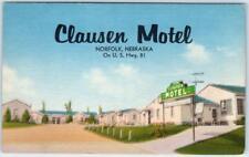 NORFOLK, Nebraska  NE   Roadside CLAUSEN MOTEL  ca 1940s Linen   Postcard