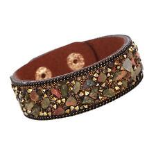 New Men Women Leather Bracelet Wrap Punk Gravel Stone Charm Crystal Cuff Bangle