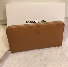 LACOSTE BROWN TAN LEATHER LARGE L ZIP AROUND PURSE WALLET GIFT BOXED BNWT