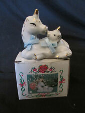 New Ceramic Vintage Mother & Baby Unicorn Figurine - White With 18K Gold Trim