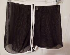 Anne Klein Sz S Sheer Black Net Zip Front Mini Skirt White Trim
