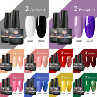 MEET ACROSS 8ml 2 Bottles Set UV Gel Nail Polish Soak Off Color Glitter Varnish