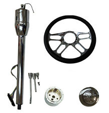 """14"""" Billet Chrome Steering Wheel And Manual Column 28""""GM No Key And Horn Button"""