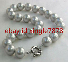 NATURAL 10MM GRAY SOUTH SEA SHELL PEARL ROUND GEMSTONE BEADS NECKLACE 20'' AAA+
