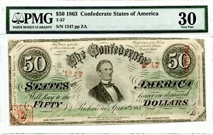 1863     $50   Confederate Currency. T-57    PMG 30 Very Fine.