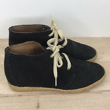 Eric Michael Size 8, EUR 38 Black leather Perforated Espadrilles lace up shoes
