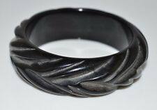 VTG Wide Black Carved BAKELITE Tested Bangle Bracelet