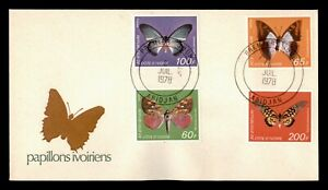 DR WHO 1978 IVORY COAST FDC BUTTERFLY CACHET COMBO  g06426