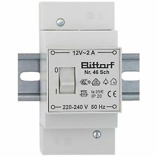 Klingeltrafo für Reiheneinbau 12V  2A mit Schalter  Bittorf