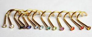 1 5 10pcs GOLD Nose Screw 2mm Gem 20g Twist Piercing Bar Stud Ring Crystal Bulk