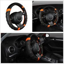 Black & Orange Microfiber Leather 38cm Car Steering Wheel Cover Non-slip Sweat
