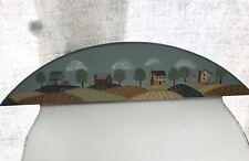 Original Folk Art Painting Wood Panel Country Village Scene
