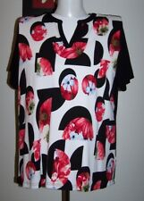 quality GIVONI 16/14 BLACK & WHITE w FLORAL PRINT SHORT SLEEVE STRETCH KNIT TOP