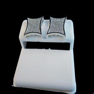MEN'S BRAND NEW GOLD FINISH DIAMOND SIMULATE XL KITE SQUARE STUD EARRINGS 12MM