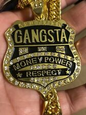 Faux Diamonds Money Power NecKlace Certified Gangsta Pendant With Cuban Chain
