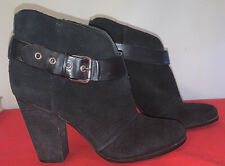 Jessica Simpson Black Velvet chunky heel boots Buckle size 10