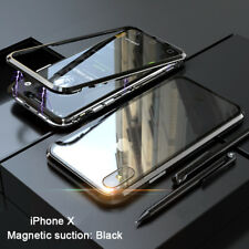 Magnetic Adsorption Phone Case For iPhone X 7 8 Plus Clear Tempered Glass Back