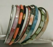 Lot 9 Thin Inlaid Shell Unknown Material Bangle Bracelets Multi Color & Sizes