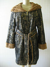 IMAN BLACK & CAMEL & GOLD BROCADE REVERSIBLE FAUX FUR HOODED COAT SIZE M - NWT