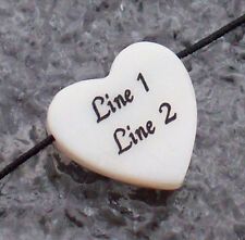 1 - PERSONALIZED White Mother-of-pearl Heart Shell Bead - 15mm - Custom Engraved