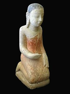 18/19CT Burmese Gessoed Sandstone Carving of Kneeling Buddhist Monk 84lb (Hos)