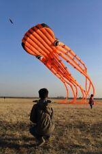 Professional 23M Giant Orange 3D Tube Shaped Parafoil Octopus Kite Adults