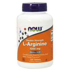 Now Foods L-Arginine Double Strength 1000 mg - 120 Tablets FRESH, FREE SHIPPING