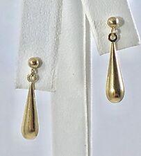 Solid 14k Yellow Gold Drop Dangle Earrings, New