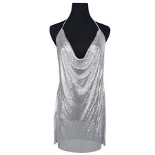 SEXY SEQUIN CHAINMAIL METAL SILVER MINI DRESS PARTY CLUBWEAR UK 6-8 UK SELLER