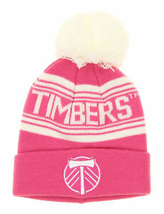 Outerstuff MLS Youth Girls Portland Timbers Cuffed Knit with Pom Hat, Pink