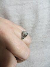 Victorian/Edwardian Opalic Moon Stone Filigree Cut Ornate Sterling Ring s.5.75