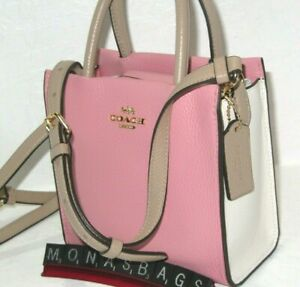 Coach Pink Taupe Multi Leather Mini Cally Colorblock Crossbody Handbag  5691 NWT