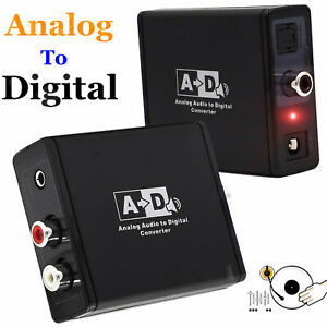 Analog To Digital Audio Converter AUX RCA Phono To Toslink Coaxial SPDIF Adapter
