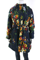 Etage Womens Floral Hooded Zip Up Belted Mid Length Raincoat Blue Size 8
