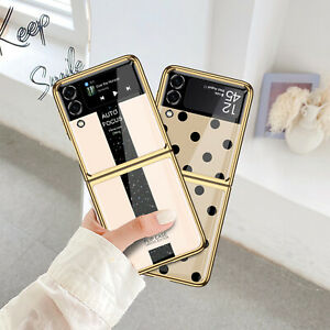 Electroplated Glass Phone Protective Case for Samsung Galaxy Z Flip 3 Phone