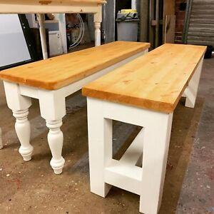 Solid Farmhouse Bench Rustic Strong 3ft To 7ft