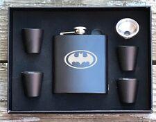 Batman Inspired 6 Piece Flask Set Great Groomsman Best Man Usher Wedding Gift