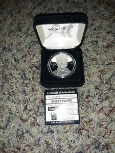 Highland Mint one troy oz. .999 fine silver Brett Favre #7500