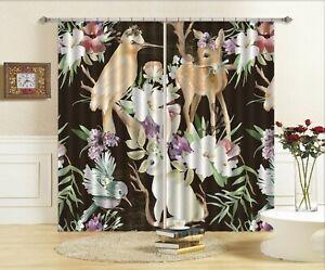 3D Flower Bunny Animal Deer NA663 Photo Curtain Printing Fabric Window Fay