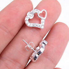 925 Sterling Silver Double OPEN Hearts Stud post Earrings with many crystal H433