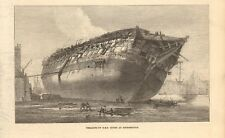 1871 ANTIQUE PRINT- BREAKING UP HMS QUEEN AT ROTHERHITHE