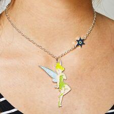 Disney Tinkerbell Metal & Enamel Charm Necklace Glittery -NWT