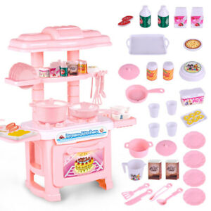 Kids Children's Kitchen Play set Pink Red Cooking Toddler Infant Baby Toy Gifts