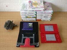 Rouge Console Nintendo DS Lite joblots Bundle avec 11 jeux, Cas Et Chargeur