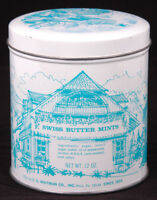 Vintage E. G. Whitman Co SWISS BUTTER MINTS Advertising Candy Tin 12 oz-Recipe