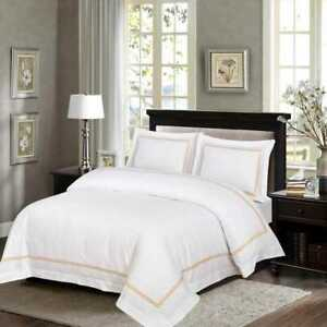 500 Thread White Color 100% Cotton Sateen Embroidered Duvet Cover Sets All Sizes