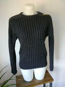 Osaka Tiger Chunky knit Jumper Grey/Navy Blue Grunge, medium