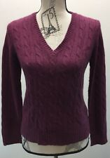 Eddie Bauer Cable Knit Violet Small Cotton Angora L/S  V-Neck Women Sweater