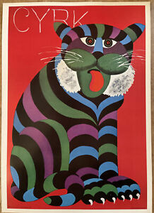Hilbert Hilscher CYRK 1971 Autherised Reproduction Polish Pop Cat Circus Poster