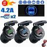 12V/24V 4.2A Dual USB Car Motorcycle Charger Socket Adapter Outlet LED Voltmeter